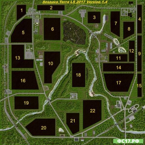 Мод FS17 Карта Sosnova Terra v 1.4 для Фермер Симулятор 2017